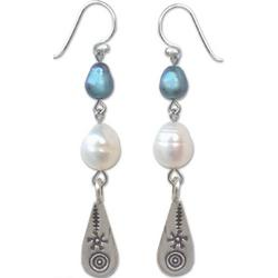 Hill Tribe Blue Pearl Drop Earrings