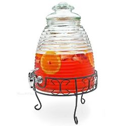 Old Fashioned Beehive Glass Beverage Dispenser