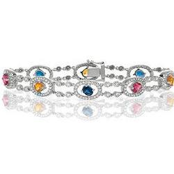 14K White Gold Diamond Rainbow Sapphire Glitterati Bracelet