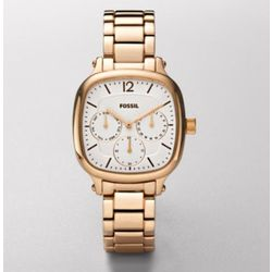 Women's Multifunction Rose Gold Tone White Dial Watch