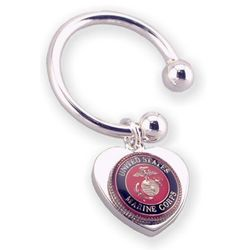 Personalized USMC Military Service Heart Key Chain