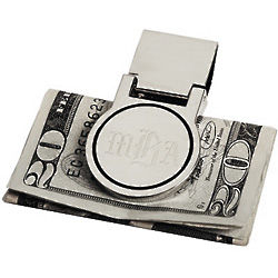 Personalized Modern Silver Disk Money Clip