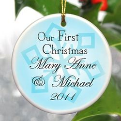 Blue Snowflake Personalized Our First Christmas Ornament