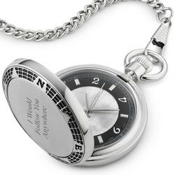 Engraved World Stainless Steel Pocket Watch