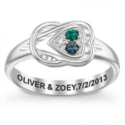 Sterling Silver Couple's Birthstone Heart Knot Ring