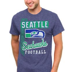 Seattle Seahawks Vintage Vertical Lines Navy Blue T-Shirt