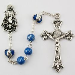 Blue Glass Bead Miraculous Rosary with Hearts
