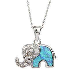 Opal Elephant Pendant
