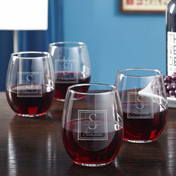 Oakhill Personalized Stemless Red Wine Glasses