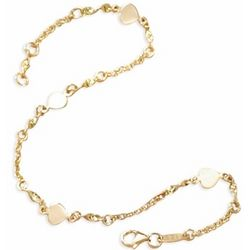 "14K Gold 9"" Chain & Heart Link Ankle Bracelet"
