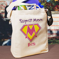 Super Mom Personalized Canvas Tote Bag