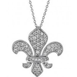 Royal Fleur De Lis Pendant in CZ Sterling Silver Necklace