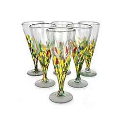 Multicolor Specks Beer Glasses