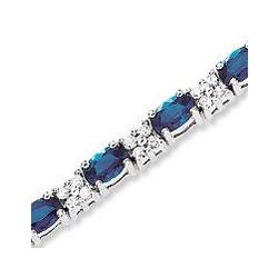 14K White Gold Oval Blue Sapphire Diamond Tennis Bracelet