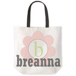 Personalized Circle Flower Tote Bag