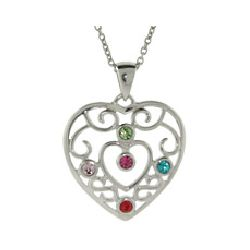 Sterling Silver Filigree 5 Birthstone Heart Pendant