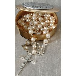 Confirmation Rosary Box and Pearl Rosary Set