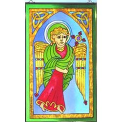 Celtic Angel Painted Hanging Glass Window