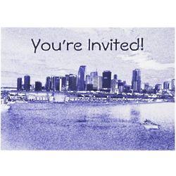 Urban Waterfront Skyline Invitation Cards