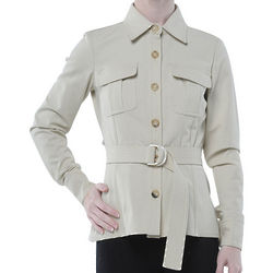 Roberto Cavalli Beige Cotton Belt Jacket