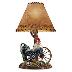 Morning Glory Rooster Table Lamp