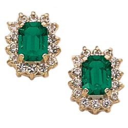 Emerald-Cut Faux Emerald Empress Earrings