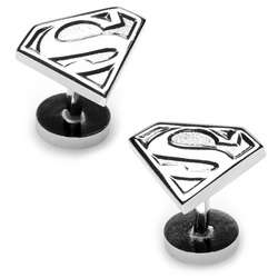 Silver Superman Shield Cuff Links