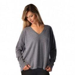 Women's Pure Cashmere V-Neck Boyfriend Sweater