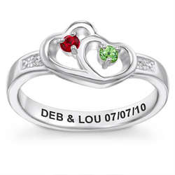 Sterling Silver Couple's Linked Hearts Ring