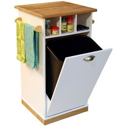 Butcher Block Trash Bin with Pantry