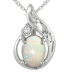 Sterling Silver Opal and Diamond Pendant
