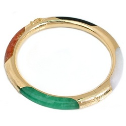 Multi-Jade Bangle Bracelet in 14k Gold