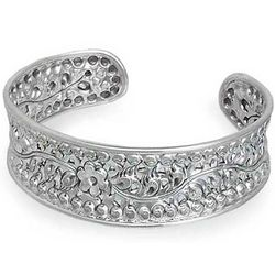 Flower of Lanna Sterling Silver Cuff Bracelet