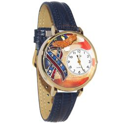American Patriotic Whimsical Watch in Large Gold Case