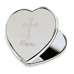 Heart Compact with Engraved Cross