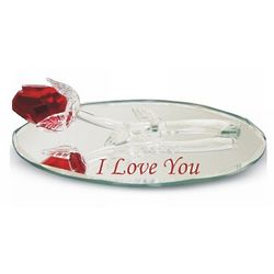Red Crystal Rose on Oval Mirror with I Love You Engraving
