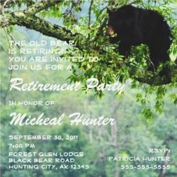 The Old Bear Retirement Party Celebration Invitations