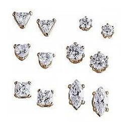 Cubic Zirconia Pierced Stud Earrings Set
