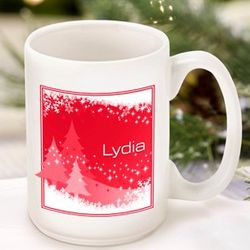 Red Snowscapes Personalized Coffee Mug