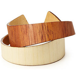 Handcrafted Mahogany and Aspen Wood Cuff Bracelet