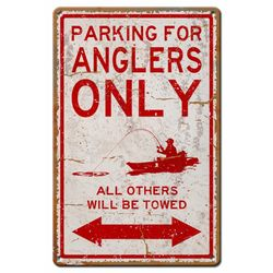 Angler Parking Only Metal Sign