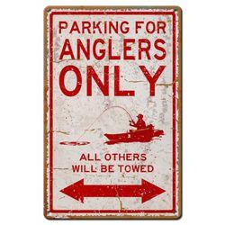Angler Parking Only Metal Sign
