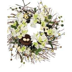 White Floral Wreath with Mini Bird Nest