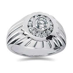 0.48 ctw Men's Diamond Ring in 18K White Gold