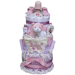3 Tier Girl's Diaper Cake