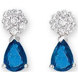 14K White Gold Blue Sapphire and Diamond Drop Earrings