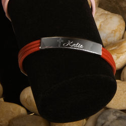 Leather Bracelet with Engraved Cross