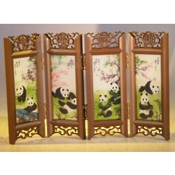 Mini Shoji Screen with Glass Framed Pictures of Panda Bears