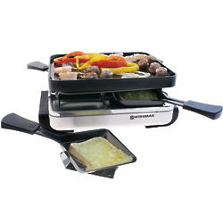 Four Person Raclette with Reversible Griddle and Top Plate