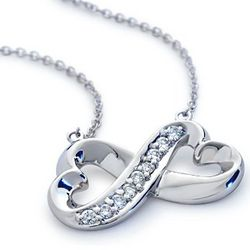 18K White Gold Infinity Heart Diamond Pendant